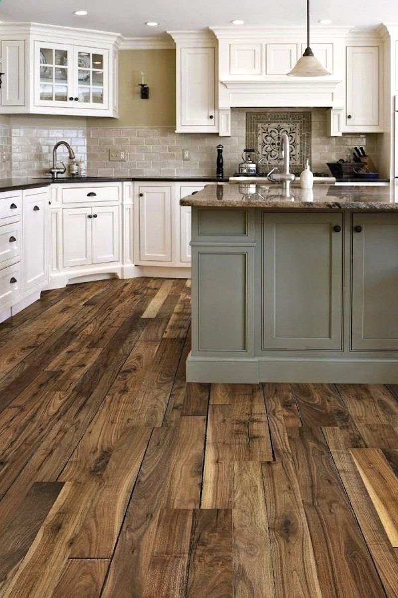 Pinterest dream homes airy with beautiful traditional for White kitchen cabinets with hardwood floors