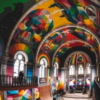 Street artist turns former church in Llanera, Spain into a skate park